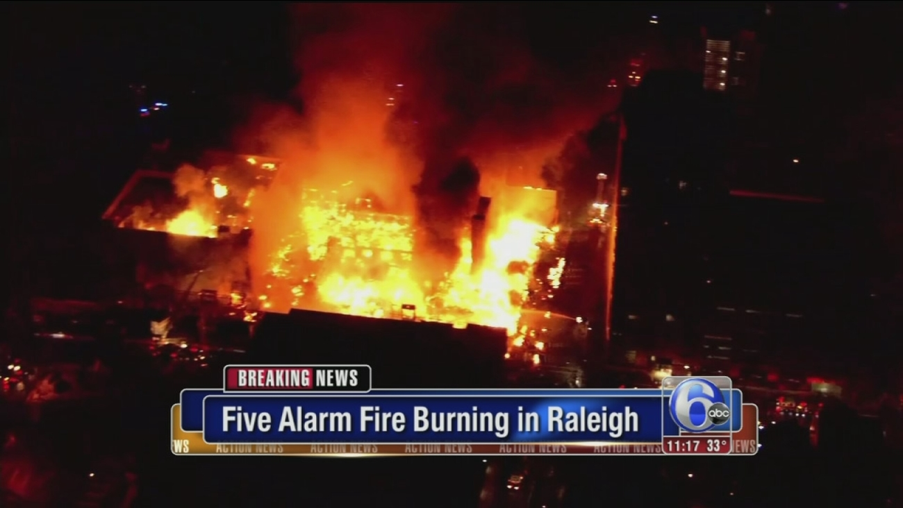 Huge Five Alarm Fire Burns In Downtown Raleigh