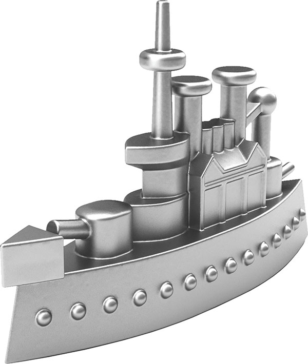<div class='meta'><div class='origin-logo' data-origin='none'></div><span class='caption-text' data-credit='Monopoly'>The iconic battleship will be featured as a token in the next generation of the game.</span></div>