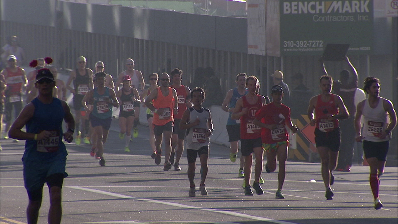 Los Angeles marathon runners are seen in an undated file photo.