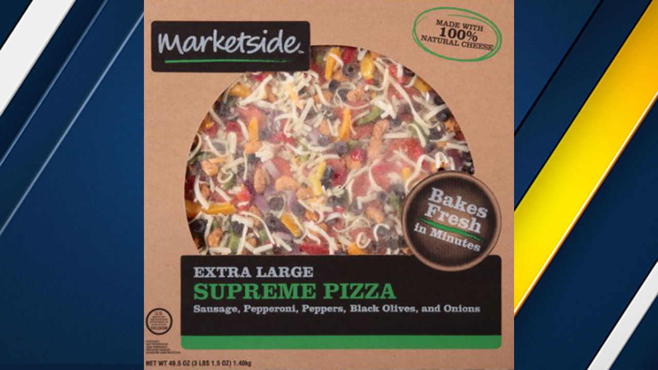 "Frozen pizza sold at Walmart labeled ""Marketside Extra Large Supreme Pizza"" with lot code 20547 is being recalled because of possible Listeria contamination."