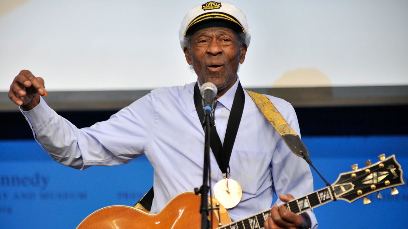 """FILE - This Feb. 26, 2012 file photo, musician Chuck Berry plays """"Johnny B. Goode"""" at the John F. Kennedy Presidential Library and Museum in Boston."""