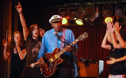 "<div class=""meta image-caption""><div class=""origin-logo origin-image ap""><span>AP</span></div><span class=""caption-text"">Rock and Roll legend Chuck Berry, 83, plays the B.B. King Club, in New York,  September 12, 2009. Chuck lets audience members join him on the stage.  (AP Photo/Bruce Gilbert) (AP)</span></div>"