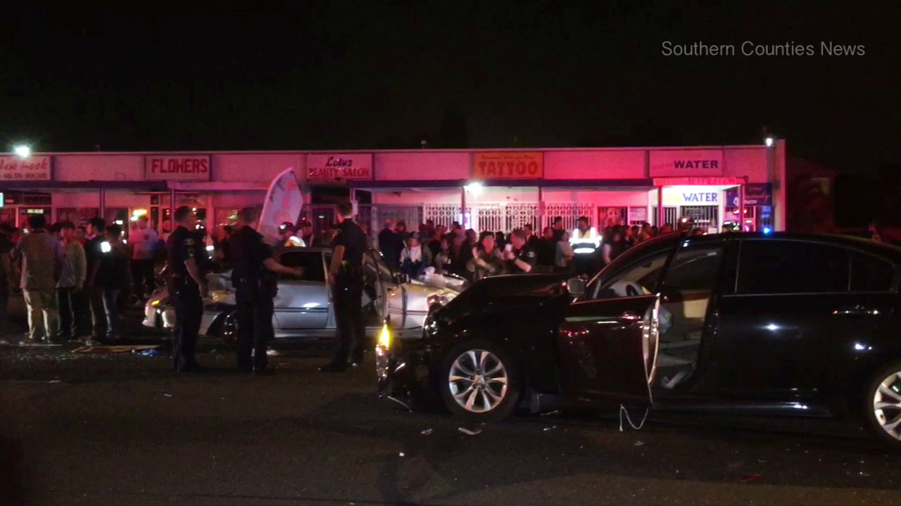 The scene of a five-car crash in Anaheim that left 11 people injured on Sunday, March 19, 2017.