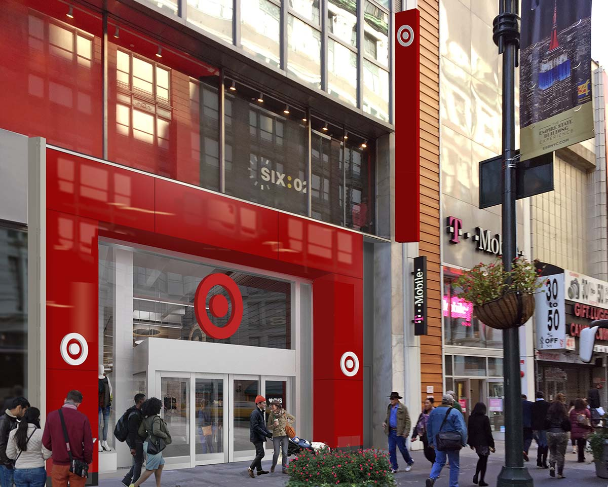 """<div class=""""meta image-caption""""><div class=""""origin-logo origin-image none""""><span>none</span></div><span class=""""caption-text"""">This rendering shows the outside of the main entrance to the 34th Street Target store. (Photo/Target)</span></div>"""
