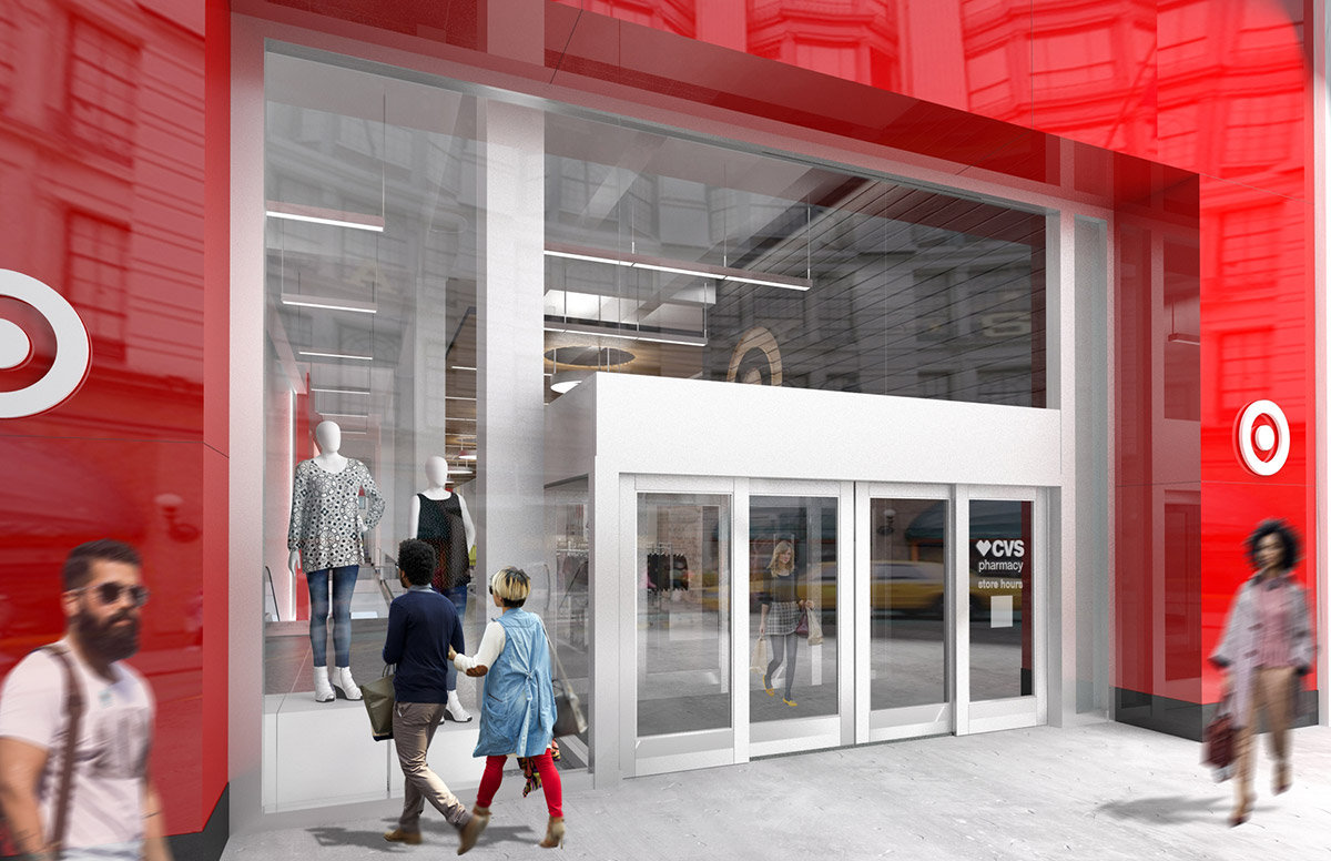 """<div class=""""meta image-caption""""><div class=""""origin-logo origin-image none""""><span>none</span></div><span class=""""caption-text"""">This is a rendering showing a closer view of the main entrance to the Midtown Manhattan Target store on 34th Street. (Photo/Target)</span></div>"""