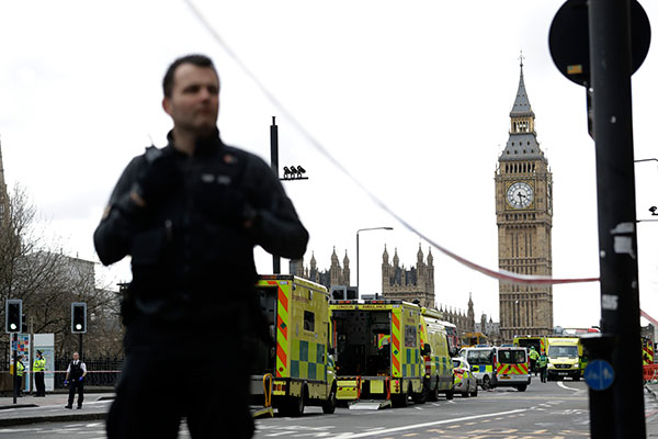 "<div class=""meta image-caption""><div class=""origin-logo origin-image none""><span>none</span></div><span class=""caption-text"">Police secure the area close to the Houses of Parliament in London, Wednesday, March 22 following reports of violence. (Matt Dunham/AP Photo)</span></div>"