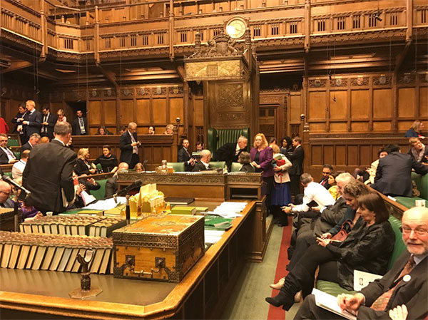 <div class='meta'><div class='origin-logo' data-origin='none'></div><span class='caption-text' data-credit='barry Sheerman/Twitter'>Parliament member Barry Sheerman shared this photo showing Parliament members waiting while in lockdown.</span></div>
