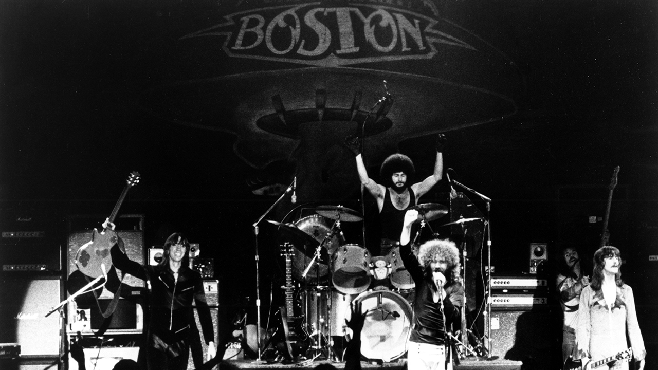 CIRCA 1978: (L-R) Tom Scholz, Sib Hashian, Brad Delp, Barry Goudreau and Fran Sheehan of the rock group 'Boston' perform onstage in circa 1978.