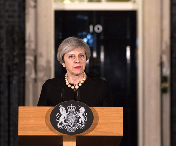 "<div class=""meta image-caption""><div class=""origin-logo origin-image wabc""><span>wabc</span></div><span class=""caption-text"">Prime Minister Theresa May gives a statement in following the terrorist attack in Westminster. (Richard Pohle/AP)</span></div>"