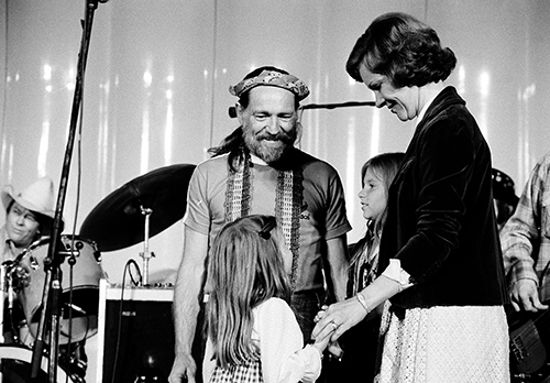 <div class='meta'><div class='origin-logo' data-origin='AP'></div><span class='caption-text' data-credit='AP Photo'>Country music singer Willie Nelson and his children Amy, left, and Paula talk with first lady Rosalynn Carter at the White House on Sept. 23, 1978.</span></div>