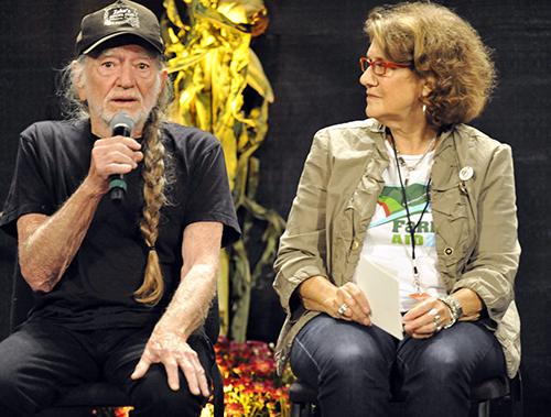 <div class='meta'><div class='origin-logo' data-origin='AP'></div><span class='caption-text' data-credit='AP'>Willie Nelson and Farm Aid executive director Carolyn Mugar talk with reporters during a press conference prior to the start of the Farm Aid 2013 concert, Saturday, Sept. 21, 2013.</span></div>