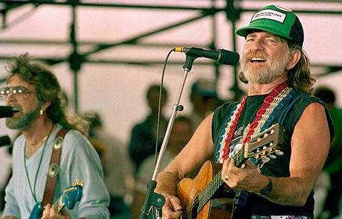 <div class='meta'><div class='origin-logo' data-origin='AP'></div><span class='caption-text' data-credit='AP Photo/Mark Elias'>Willie Nelson performs during opening set at the FarmAid benefit concert September 22, 1985 at Champaign, Illinois.</span></div>