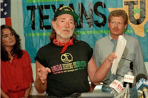 <div class='meta'><div class='origin-logo' data-origin='AP'></div><span class='caption-text' data-credit='AP Photo/Jim Johnson'>Singer Willie Nelson joins Texans United to protest a trade agreement, at an economic summit in Houston, Texas, on July 2, 1990.</span></div>