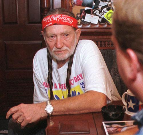 <div class='meta'><div class='origin-logo' data-origin='AP'></div><span class='caption-text' data-credit='AP Photo/Terry Gilliam'>Willie Nelson listens to Kit Fogle, legistative director of the Ohio Farmers Union as he talks about livestock operations Wedensday, Aug. 12, 1998, in Columbus, Ohio.</span></div>