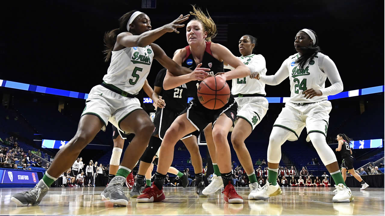 Stanford's Alanna Smith battles Notre Dame during a regional final of the NCAA women's college basketball tournament on Sunday, March. 26, 2017, in Lexington, Ky. (AP Photo)