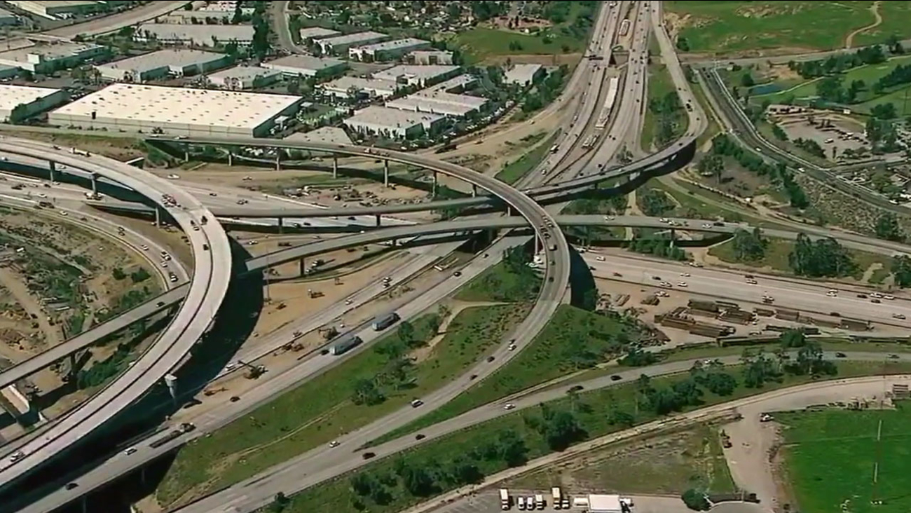 The 91 Freeway in Corona is shown in aerial footage.