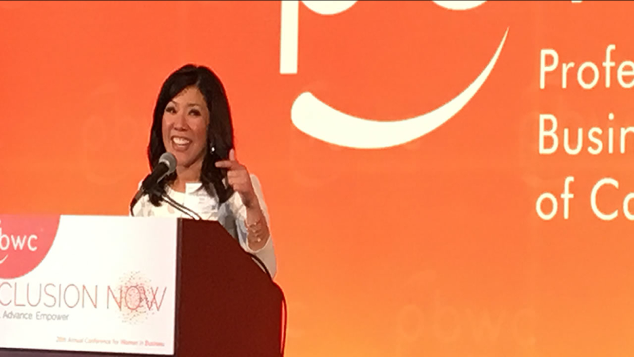 ABC7 News' Kristen Sze speaks at the Professional BusinessWomen of California Conference VIP reception on the eve of 2017's conference.