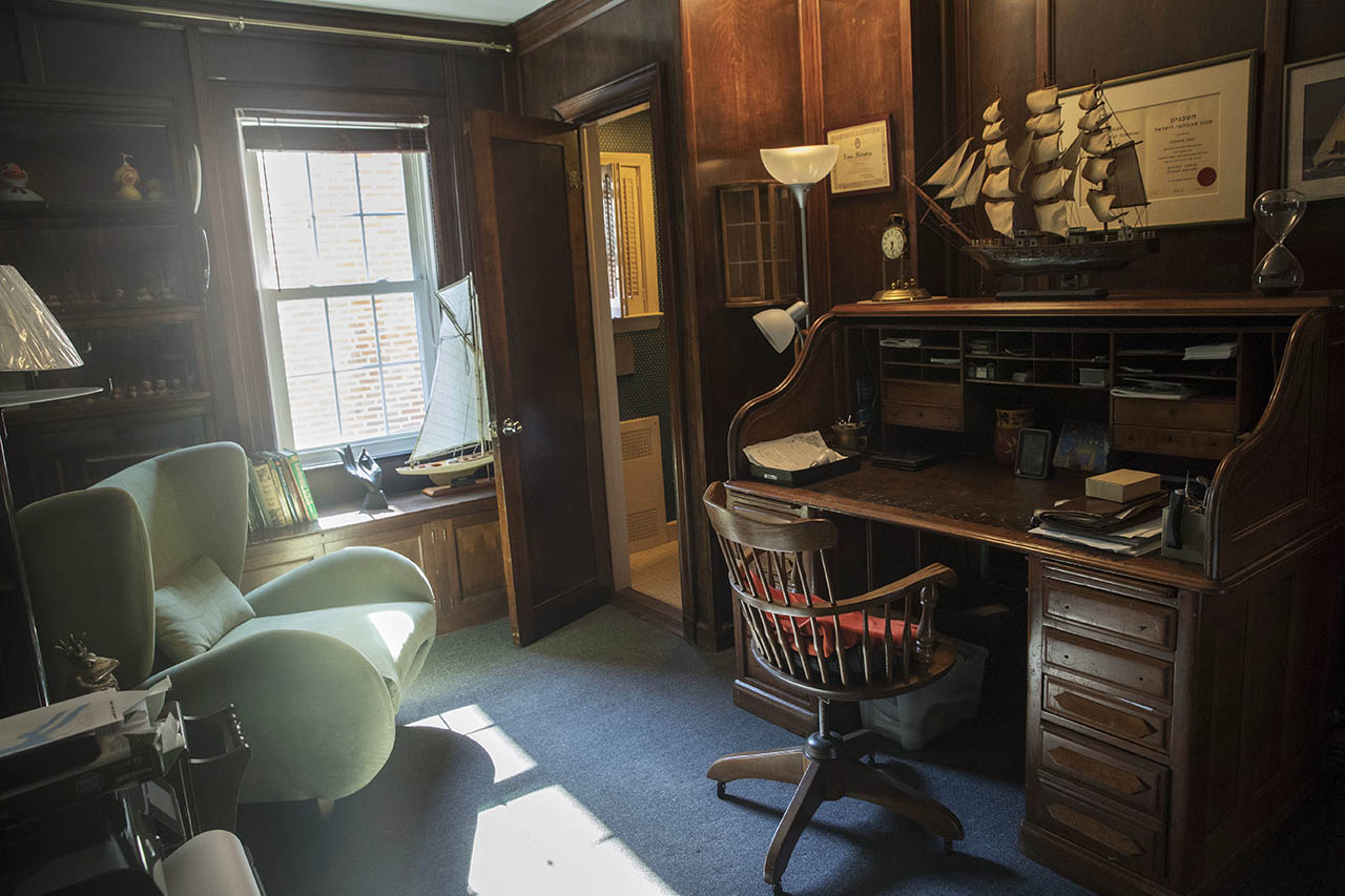 <div class='meta'><div class='origin-logo' data-origin='AP'></div><span class='caption-text' data-credit='AP Photo/Mary Altaffer'>This 2016 photo shows sunlight filters through a window in a study in the house where Donald Trump spent his early childhood.</span></div>