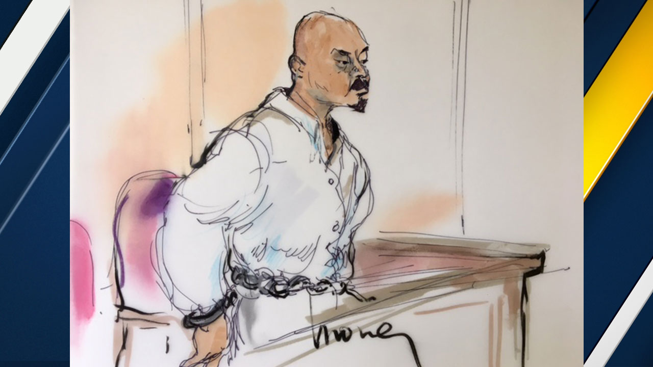 Sengchan Houl, 35, is shown in a sketch while he is in court on Tuesday, March 28, 2017.