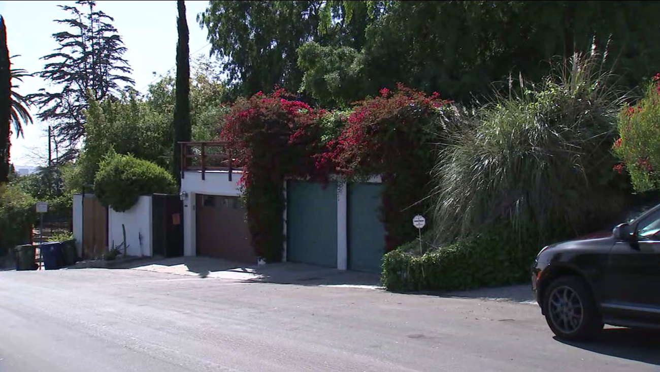 A garage and home is shown in an Echo Park neighborhood.