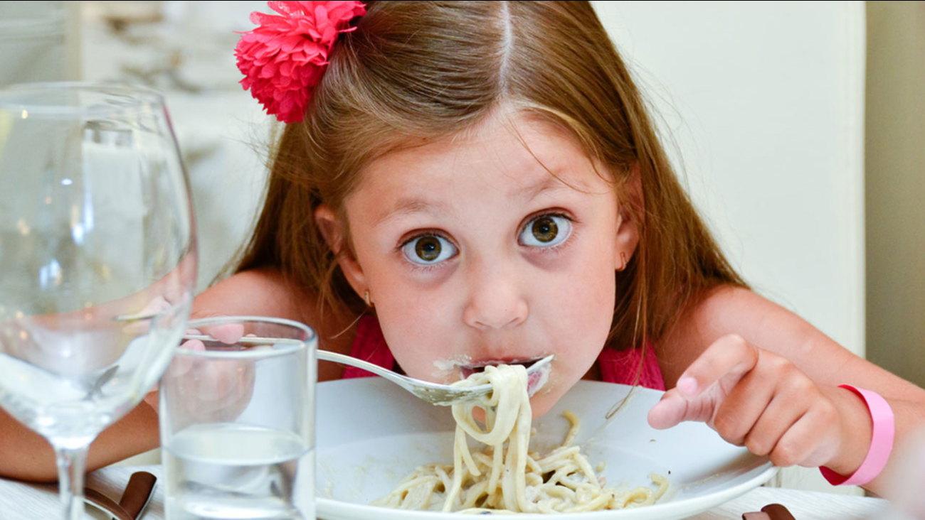 Girl eating at a restaurant
