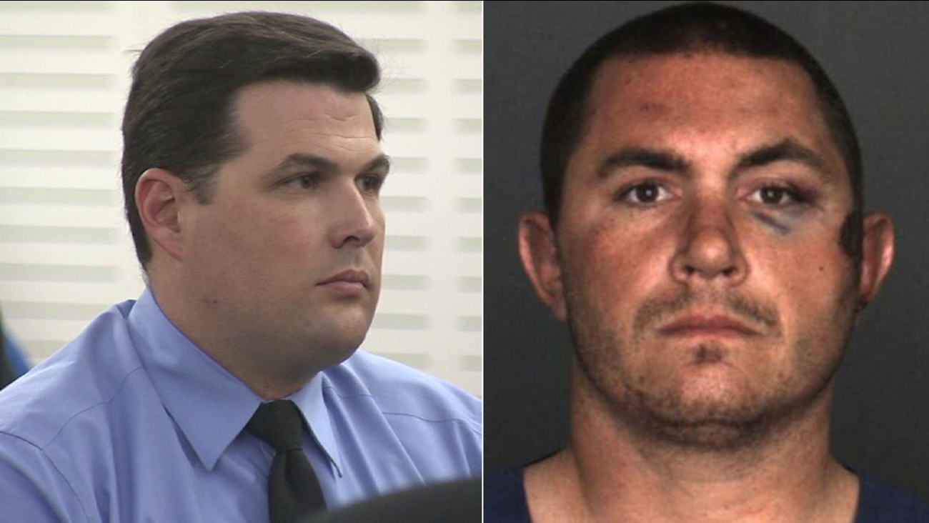 Former San Bernardino County sheriff's deputy Charles Foster (left) was found guilty of assaulting Francis Pusok (right) during an arrest in 2015.