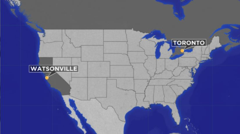 This map shows the distance traveled by BooBoo the cat, from Watsonville, Calif. to a city 40 miles outside Toronto.