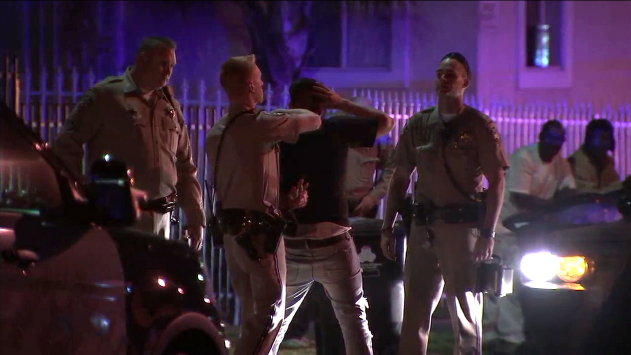 A suspect who deputies witnessed strike a pedestrian in South Los Angeles is arrested for the crime on Saturday, April 1, 2017.