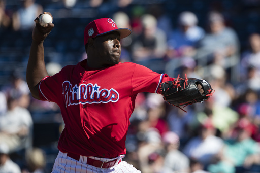 "<div class=""meta image-caption""><div class=""origin-logo origin-image ap""><span>AP</span></div><span class=""caption-text"">Philadelphia Phillies pitcher Hector Neris pitches during a spring training baseball game against the New York Yankees Saturday, Feb. 25, 2017, in Clearwater, Fla. (AP)</span></div>"