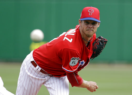"<div class=""meta image-caption""><div class=""origin-logo origin-image ap""><span>AP</span></div><span class=""caption-text"">Philadelphia Phillies starting pitcher Clay Buchholz throws in the first inning of a spring training baseball game against the Tampa Bay Rays, Friday, March 31, 2017. (AP)</span></div>"