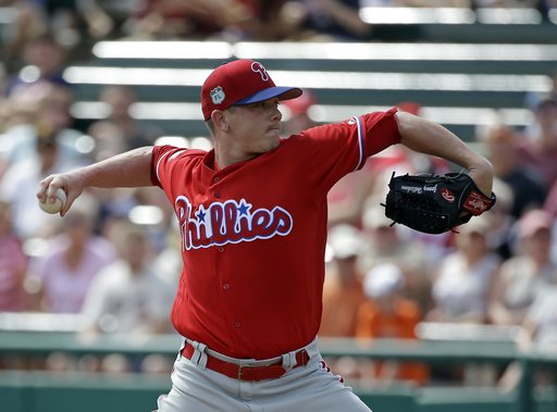 "<div class=""meta image-caption""><div class=""origin-logo origin-image ap""><span>AP</span></div><span class=""caption-text"">Philadelphia Phillies starting pitcher Jeremy Hellickson thaws in the first inning of a spring training baseball game against the Atlanta Braves, Wednesday, March 8, 2017. (AP)</span></div>"