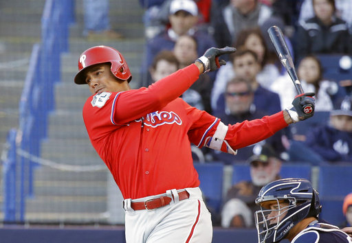 "<div class=""meta image-caption""><div class=""origin-logo origin-image ap""><span>AP</span></div><span class=""caption-text"">Philadelphia Phillies' Aaron Altherr bats against the New York Yankees in a spring training baseball game, Wednesday, March 15, 2017, in Tampa, Fla. (AP)</span></div>"