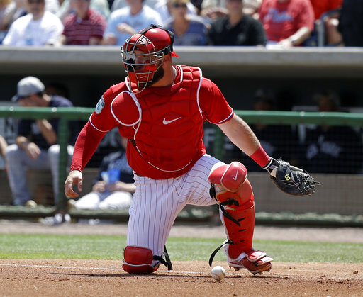 "<div class=""meta image-caption""><div class=""origin-logo origin-image ap""><span>AP</span></div><span class=""caption-text"">Philadelphia Phillies catcher Cameron Rupp watches a runner before picking up the ball in a spring training baseball game against the New York Yankees, Thursday, March 30, 2017. (AP)</span></div>"