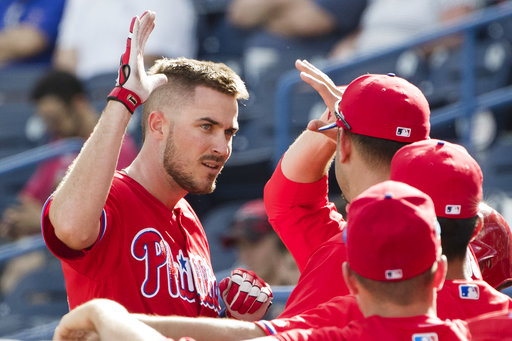 "<div class=""meta image-caption""><div class=""origin-logo origin-image ap""><span>AP</span></div><span class=""caption-text"">In this Feb. 24, 2017, file photo, Philadelphia Phillies' Brock Stassi celebrates with teammates after hitting a home run against the New York Yankees. (AP)</span></div>"