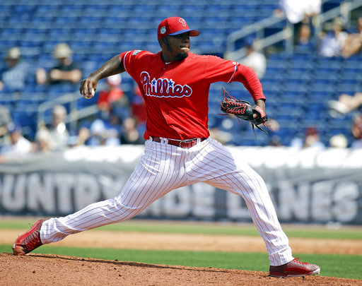 "<div class=""meta image-caption""><div class=""origin-logo origin-image ap""><span>AP</span></div><span class=""caption-text"">Philadelphia Phillies' Edubray Ramos pitches against the Tampa Bay Rays in the seventh inning in a spring training baseball game, Friday, March 31, 2017, in Clearwater, Fla. (AP)</span></div>"
