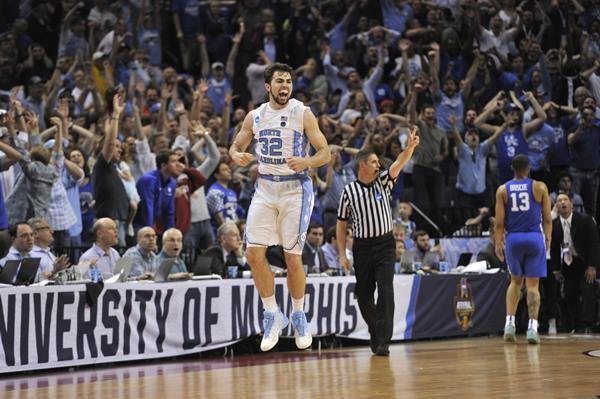"<div class=""meta image-caption""><div class=""origin-logo origin-image ap""><span>AP</span></div><span class=""caption-text"">North Carolina forward Luke Maye celebrates after shooting the winning basket in the second half of the South Regional final game against Kentucky (AP Photo/Brandon Dill)</span></div>"