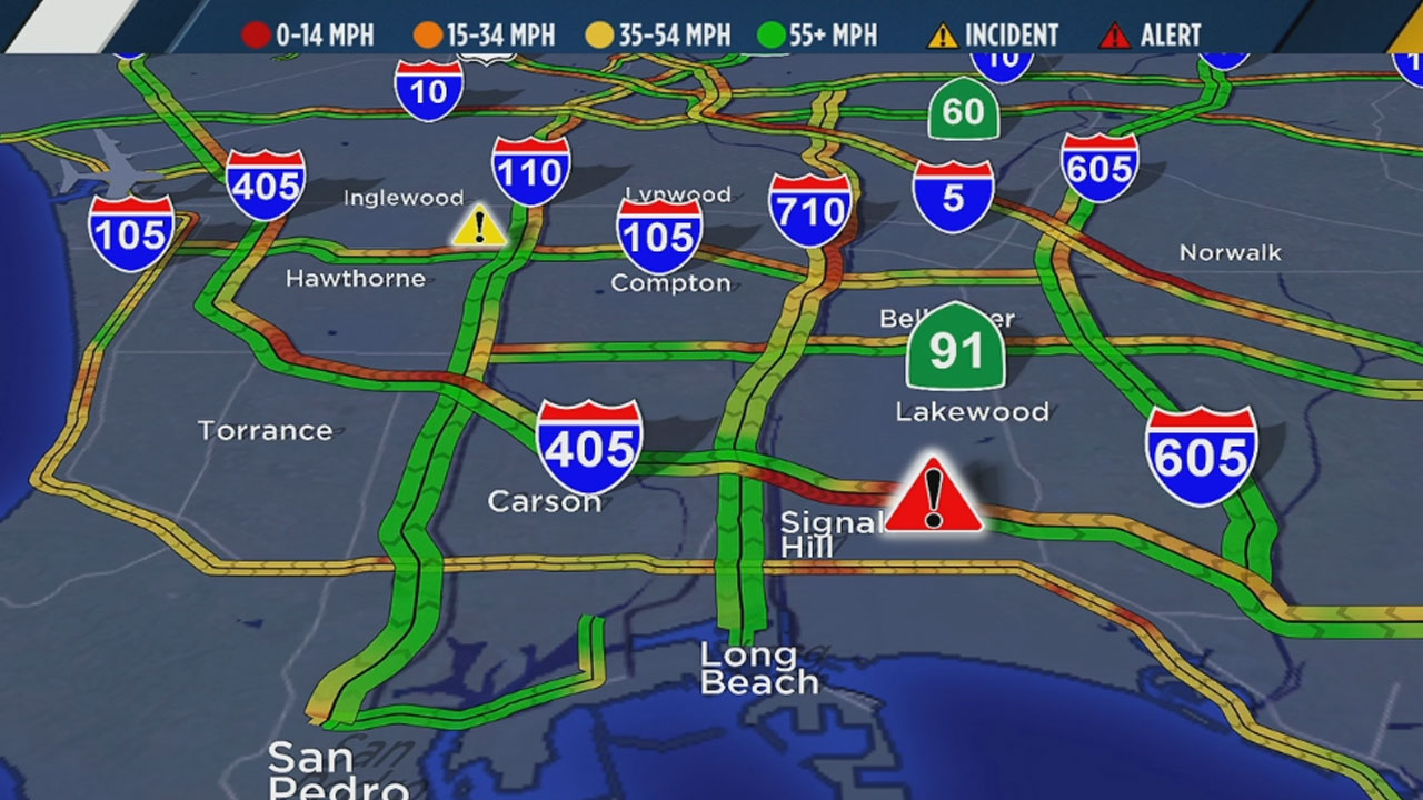 An ABC7 traffic map shows all lanes of the 405 South shut down at Cherry Avenue on Monday, April 3, 2017.