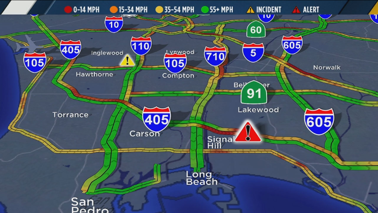 Abc7 Traffic Map.Multi Vehicle Wreck Shuts Down Sb 405 Fwy In Signal Hill Abc7 Com