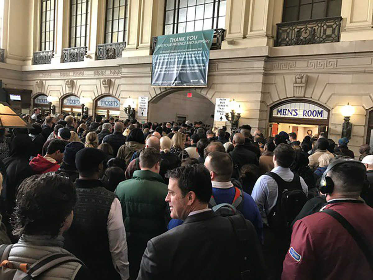 <div class='meta'><div class='origin-logo' data-origin='none'></div><span class='caption-text' data-credit='Photo/@rdesanno via Twitter'>This photo shows crowds of NJ Transit passengers at Hoboken Station on Monday, April 3, 2017.</span></div>