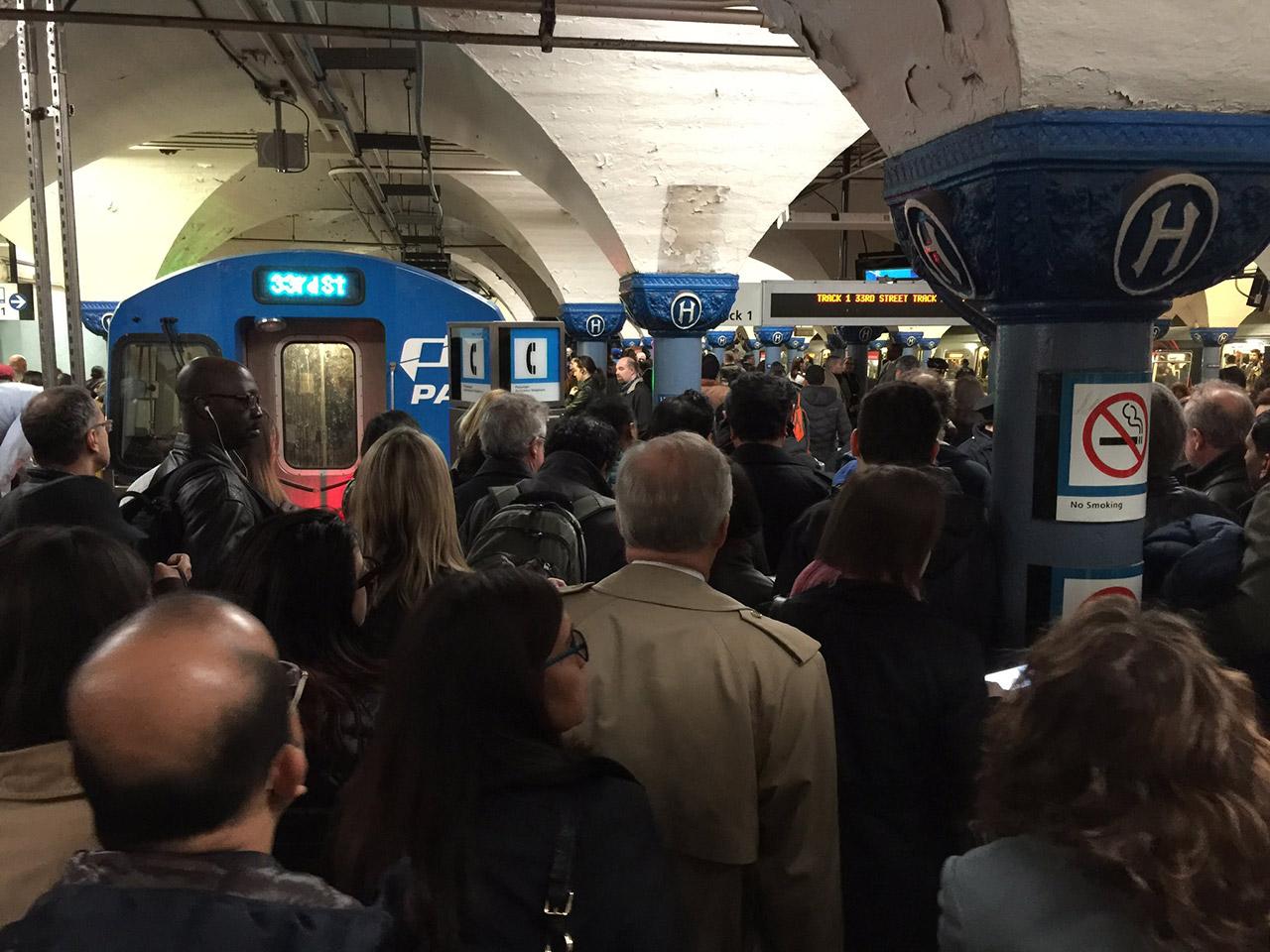 <div class='meta'><div class='origin-logo' data-origin='none'></div><span class='caption-text' data-credit='Photo/@robertjohndavis via Twitter'>This photo shows the crowds waiting for the PATH train in Hoboken following a derailment at New York Penn Station on Monday, April 3, 2017.</span></div>