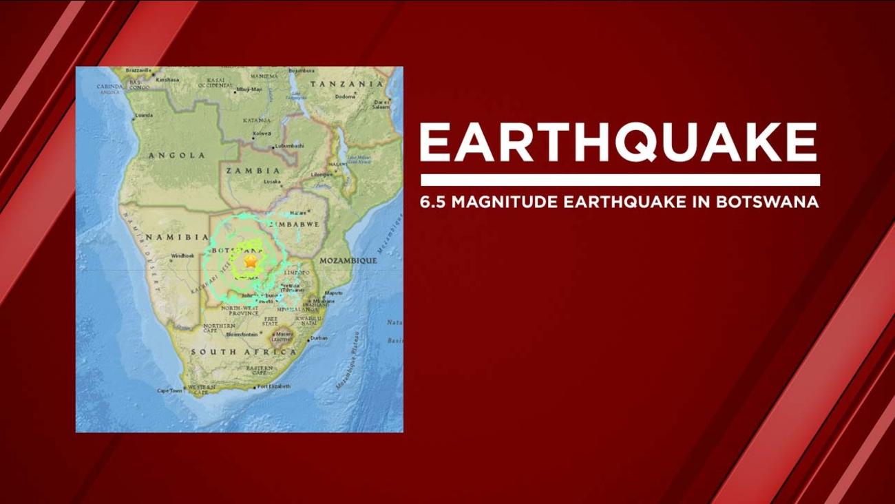 Earthquake in Botswana, Africa