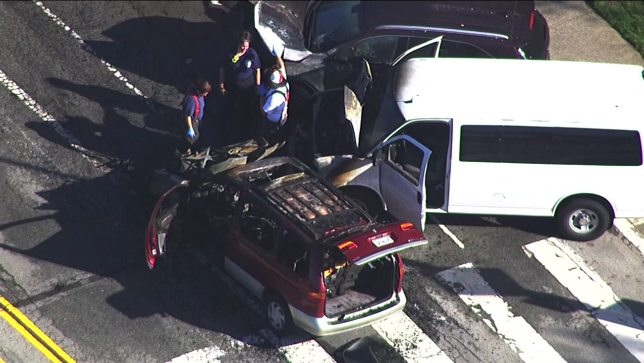 Three cars are seen from Sky7 after a crash along John Muir Drive in San Francisco on Monday, April 3, 2017.