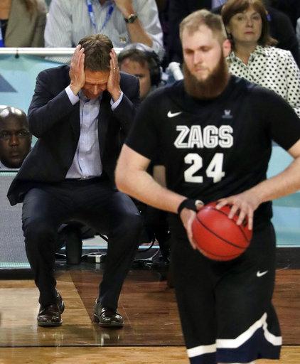 "<div class=""meta image-caption""><div class=""origin-logo origin-image none""><span>none</span></div><span class=""caption-text"">Gonzaga head coach Mark Few reacts as Przemek Karnowski (24) walks down on the court. (AP Photo/Matt York)</span></div>"