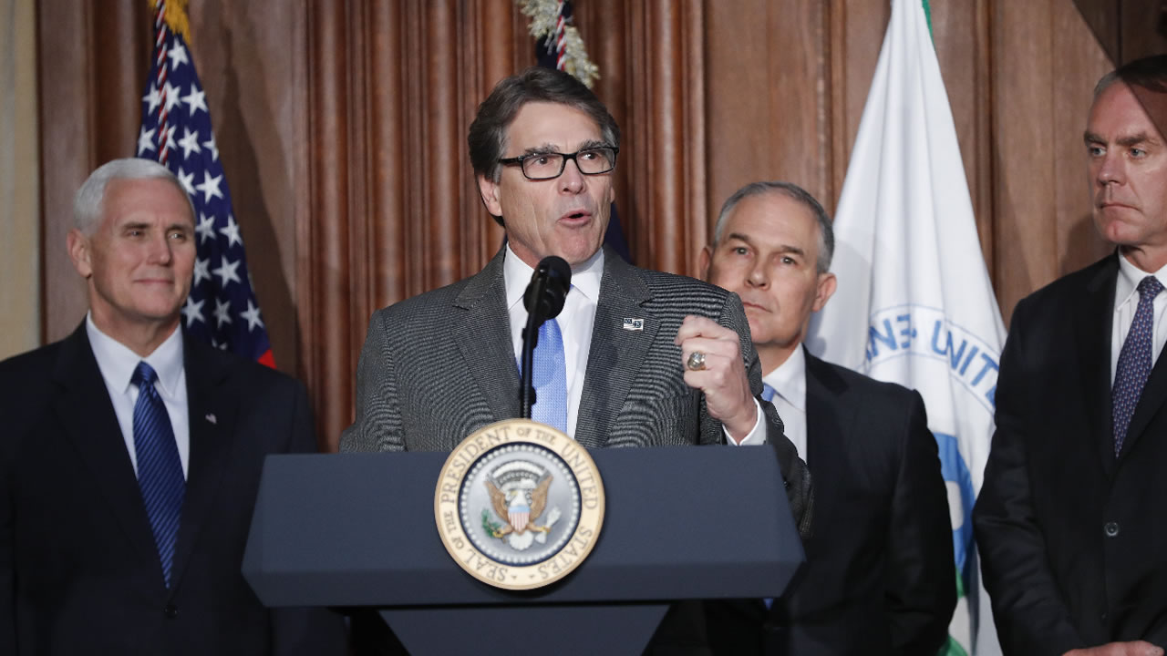 Energy Secretary Rick Perry speaks at EPA headquarters in Washington, Tuesday, March 28, 2017, before the arrival of President Donald Trump.