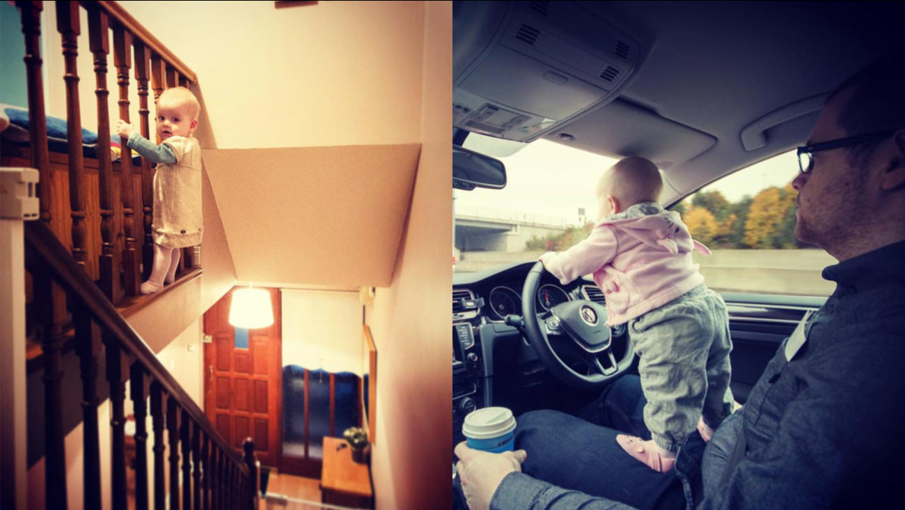 Photoshopped images created by a dad who puts his daughter in 'marginally dangerous situations'.