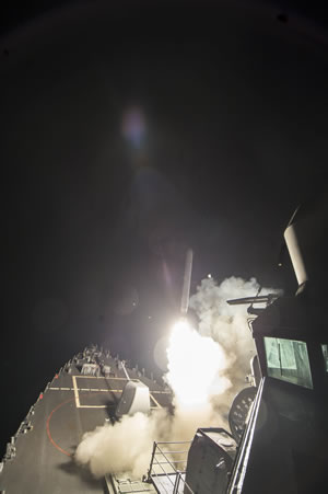<div class='meta'><div class='origin-logo' data-origin='none'></div><span class='caption-text' data-credit='KGO-TV'>President Donald Trump ordered Tomahawk missile attacks on a Syrian air base following a chemical attack that left at least 86 civilians dead on Thursday, April 6, 2017.</span></div>