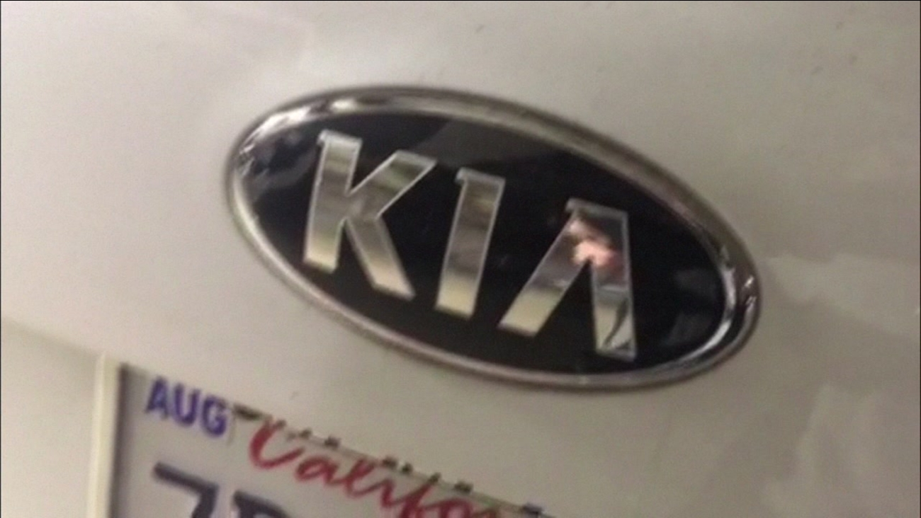The Kia logo is seen on the front of a car in this photo taken in San Francisco on Friday, April 7, 2017.
