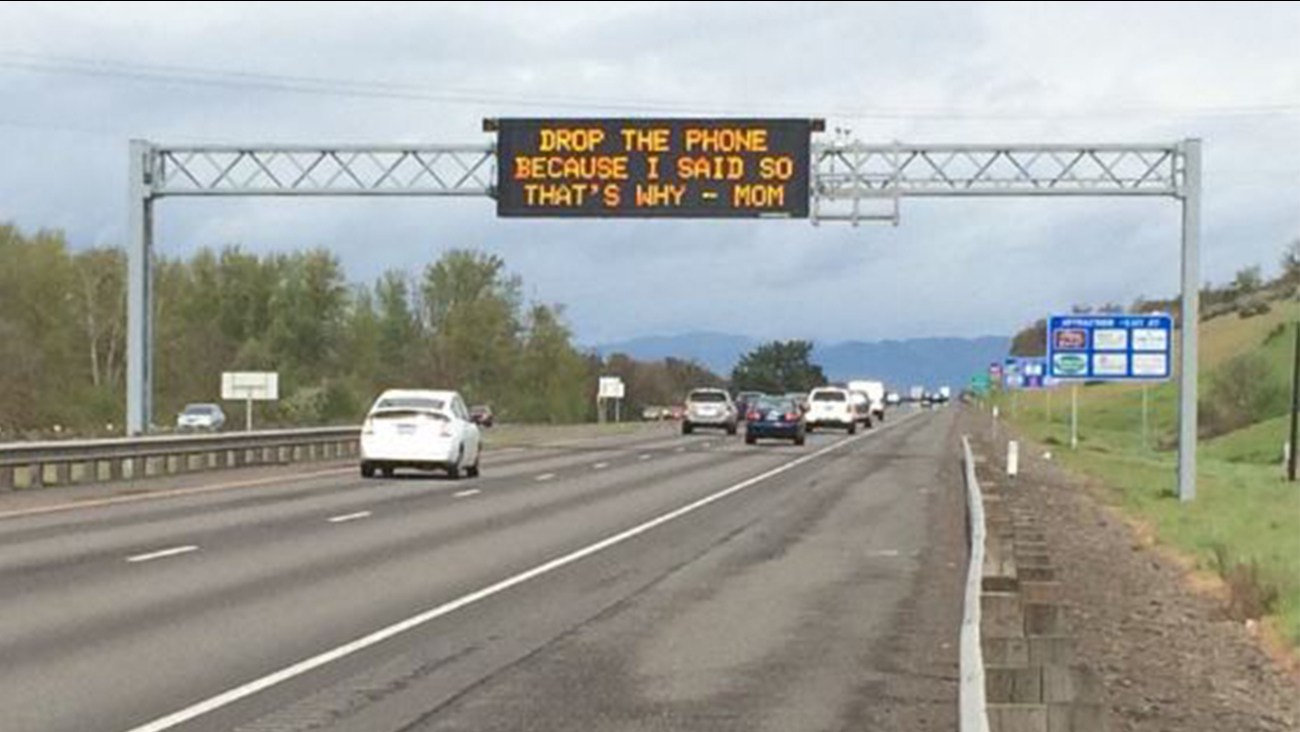 'Messages from Mom' freeway signs try to curb distracted driving