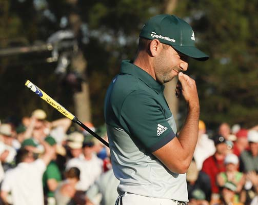 "<div class=""meta image-caption""><div class=""origin-logo origin-image ap""><span>AP</span></div><span class=""caption-text"">Sergio Garcia, of Spain, reacts after missing a birdie putt on the 18th hole during the final round of the Masters golf tournament, Sunday. (AP Photo/David J. Phillip) (AP)</span></div>"