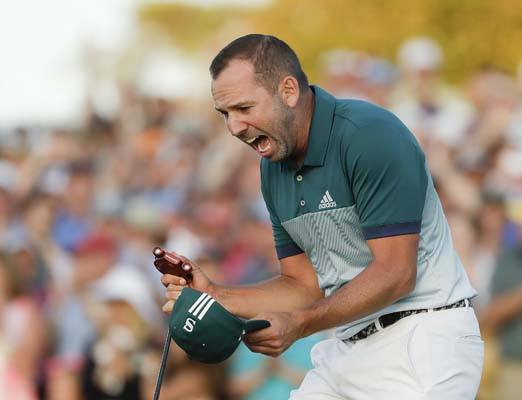 "<div class=""meta image-caption""><div class=""origin-logo origin-image ap""><span>AP</span></div><span class=""caption-text"">Sergio Garcia, of Spain, reacts after making his birdie putt on the 18th green to win the Masters golf tournament after a playoff, Sunday. (AP Photo/Matt Slocum) (AP)</span></div>"